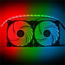 Dark Ultra Bright RGB Multi LED Fan ve Şerit Kit (2x120mm Fan ve 35cm LED Şerit) - 1